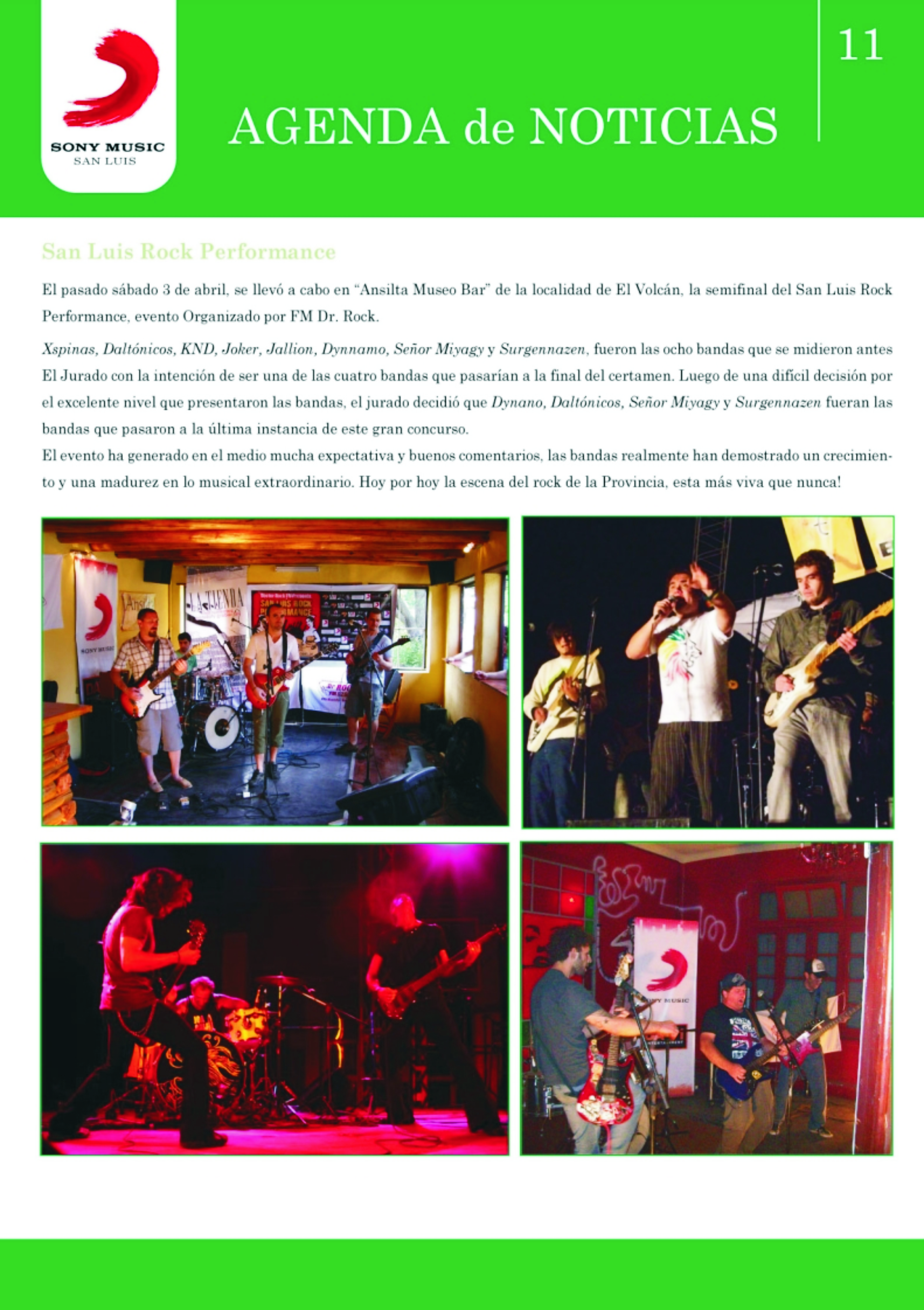 Agenda de noticias Sony Music San Luis, paginas sobre el San Luis Rock Performance (2010)-II